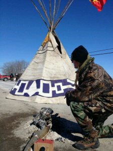Tyendinaga Mohawks have erected a tipi as part of their blockade, March 2, 2014.
